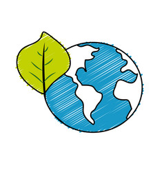 Global earth planet with leaf symbol to vector
