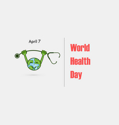 globe sign and dumbbell logoworld health day vector image