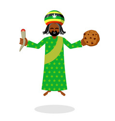 god ganja idol jah gives rasta cookies and joint vector image