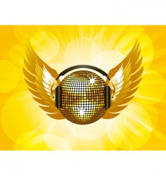 gold disco ball and wings vector image