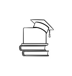 graduation cap on book and laptop hand drawn icon vector image