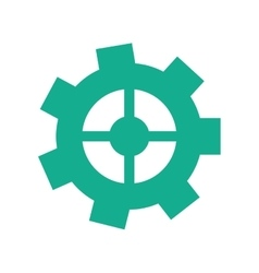 Green gear wheel engine cog icon vector