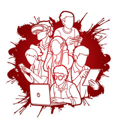 group people using digital devices cartoon vector image