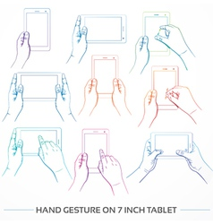 Hand Holding 7inch Tablet Set vector image