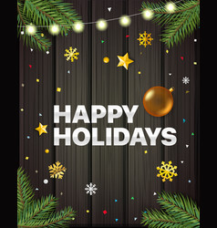 happy holidays greeting card concept vector image
