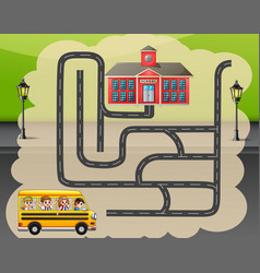 help the school bus find the way to school vector image