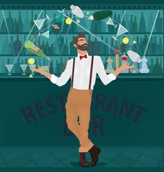 Hipster bartender deftly juggles bottles vector