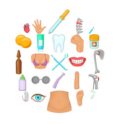human health icons set cartoon style vector image