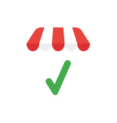 icon concept of check mark under shop store roof vector image