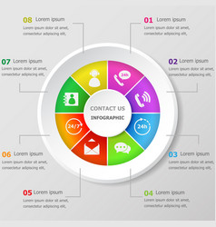 infographic design template with contact us icons vector image
