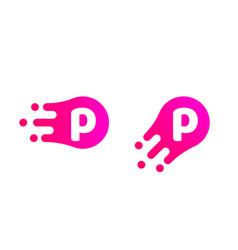 Letter p logo abstract liquid bubble drop vector