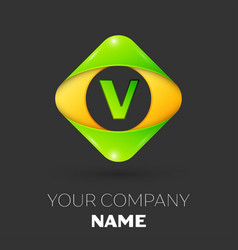 Letter v logo symbol in colorful rhombus vector
