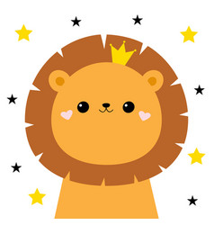 Lion face head icon cute kawaii animal golden vector