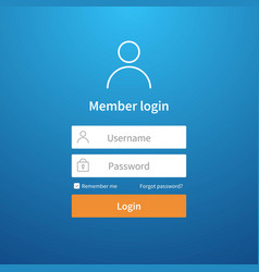 Login form website ui account screen page vector