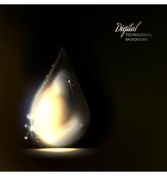 Macro of shiny drop on dark background vector