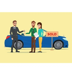 Man woman and car dealer Business cartoon concept vector image