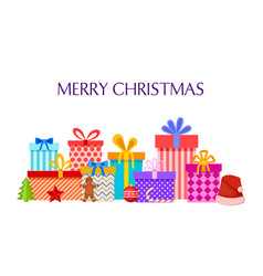merry christmas card with gift boxes pile vector image
