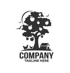 Modern farm and apple tree logo vector
