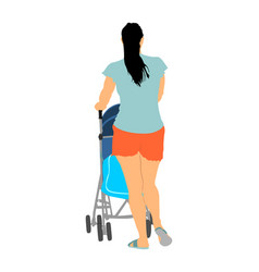 Mother walking with bain pram happy family vector