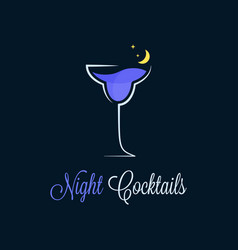 Night cocktail logo cocktail glass on dark vector