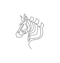 one continuous line drawing zebra head for vector image