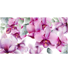 orchid flowers watercolor summer floral pattern vector image