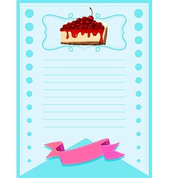 Paper design with cherrycheesecake vector