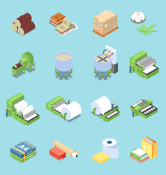 Paper production icons set vector