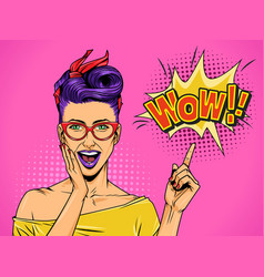 pop art beautiful surprised lady vector image
