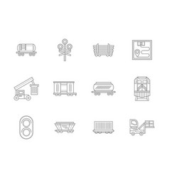 railroad transportations flat line icons vector image