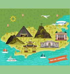 Rio de janeiro brazil city map with landmarks vector