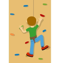 Rock climber boy vector image