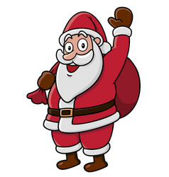 Santa waves to camera on white background vector