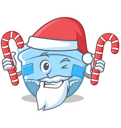 santa with candy baby diaper character cartoon vector image