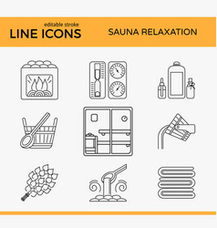 Sauna theme icon set vector
