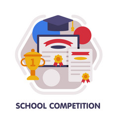 school competition icon back to school concept vector image