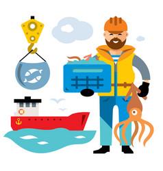 sea port unloading seafood flat style vector image