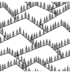 seamless abstract mountains with fir background vector image