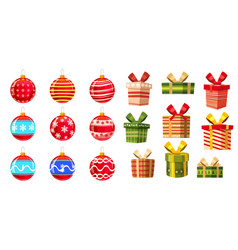 set christmas balls and gift boxes different vector image
