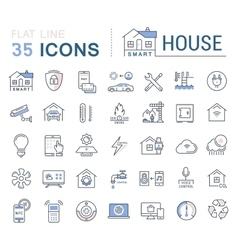 Set Flat Line Icons Smart House vector image