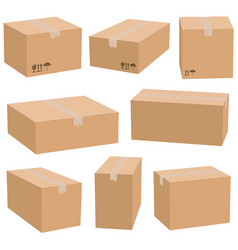 Set of cardboard boxes isolated vector