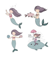 Set of cute cartoon little mermaid siren sea vector