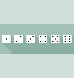 set of dice in flat style with shadow vector image
