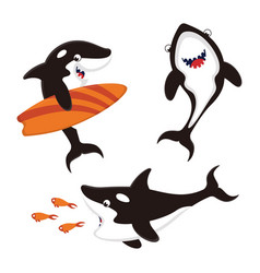 Set with cartoon killer whales vector