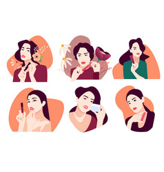 set woman for beauty vector image