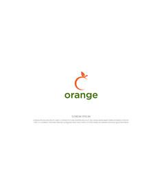 simple minimalist fresh orange fruit logo design vector image