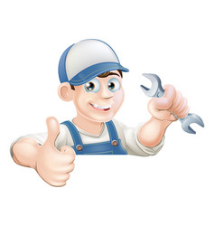 spanner man over sign thumbs up vector image