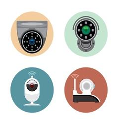 Surveillance recording security camera set flat st vector image