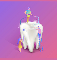 Teeth whitening isometric big white vector