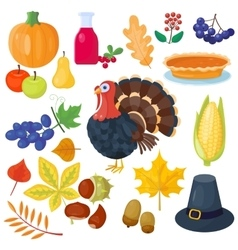 Thanksgiving icons set vector image